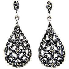 Dolce Giavonna Sterling Silver Marcasite Filigree Design Art Deco Teardrop Earri