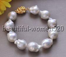 Z8696 24mm White BAROQUE KESHI REBORN PEARL Bracelet 8inch