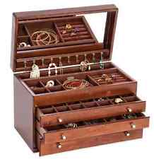 Antique Walnut Jewelry Box Storage Display Chest, Ring Necklace Organizer, Wood