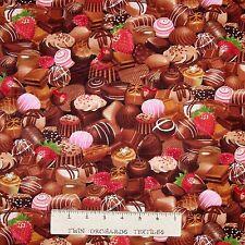 Dessert Fabric - Packed Strawberry & Chocolate Food - Timeless Treasures YARD