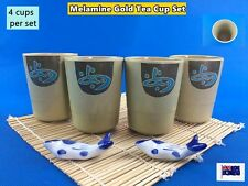 Set of 4 New Melamine Gold Tea Cup Set - Juice, Milk, Tea, Water, etc (B137)