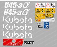 Kubota U45-3 Mini Bagger komplette Aufkleber Satz mit sicherheit-warnzeichen