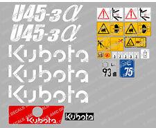 KUBOTA U45-3 Mini Escavatrice Completo Decalcomania Impostato Con SAFETY Segnali di avvertimento