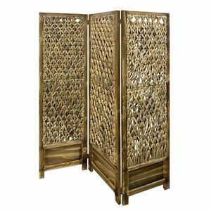 Casual Wood and Seagrass 3 Panel Room Divider Screen