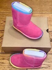 CHILDREN'S UGG T CLASSIC SHORT II SLIP ON BOOT INFANT UK 9 PINK RAINBOW