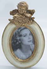 Cherub Oval Photo Frame Portrait Gold Cream Stylish Unique Gift Boxed 2.5x3.5