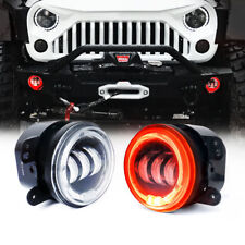 """4"""" 60W CREE LED Fog Projector Light w/ RED Halo Angel Ring for Jeep JK/JL Dodge"""