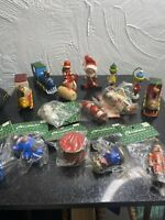 Vintage Lot Of 16 Wooden Christmas Tree Ornaments New & Used