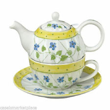 Andrea by Sadek Porcelain Tea for One  Stacked Teapot & Cup  YELLOW POLKA DOT