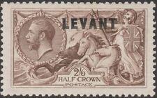 British Levant 1921 KGV Seahorse 2sh6d Chocolate-Brn Overprint Mint SG L24 c £38