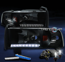 1994-2001 DODGE RAM LED STRIP BLACK CRYSTAL HEAD LIGHT+BLUE DRL SIGNAL+6000K HID