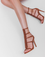 Schutz Hapi Suflair Tan Leather Strappy High Heel Single Sole Detailed Sandals