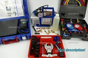 R134A R32 R410a Split AC Unit Vacuum Pump Gauge manifold Set Kit charging tool