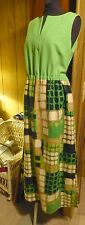 Womens Maxi Dress Sleeveless Apple Green Partridge Family 60s Mid Cent Sz 14-16