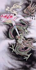100% ORIENTAL ASIAN FINE ART CHINESE ANIMAL WATERCOLOR PAINTING-Dragon&Lotus