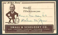 1952 Indiana Salesmans Calling Card By Small & Schelosky Rugs Furniture Etc