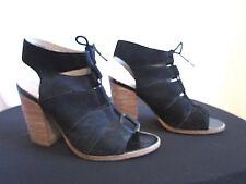 c9488a0b465 Hinge Black Suede Lace Up Peep Toe Block Heel Bootie Shoes Women Sz 9M