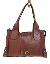FOSSIL Vintage Brown Leather Work Tote Hand Bag Purse Carry On Duffel