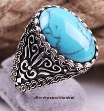 Blue Turquoise Stone Turkish Jewelry 925 Sterling Silver Mens Man Ring ALL SİZE