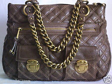 AUTHEN MARC JACOBS QUILTED MULTI-POCKET CHAINS HANDBAG-TAUPE-MADE IN ITALY-XLNT!