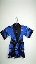 Thai Silk-Blend Child's Robe/Kimono Blue Reversible Dragon / Unisex- S(New)