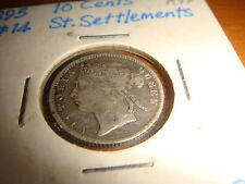 Straits Settlements 1895, Queen Victoria 10 Cents, Silver Coin, AVF