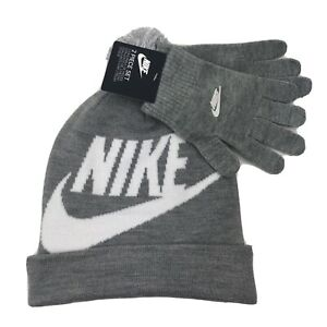 NEW Nike Youth Boys Knit Beanie Hat Gloves 2 Piece Set Gray Swoop