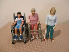 3 Lakeshore Doll house Figures blind Toy Lady with walker and Wheelchair