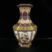 "9.8"" China Porcelain Draw Gold Colour Enamels Personage Flower Bird Hexagon Vase"