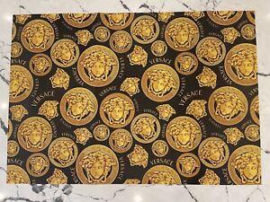 "Versace 27""x39"" Black Logo Heavyweight Wrapping Paper Gift Wrap Tissue Medusa"