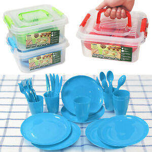 Plastic Picnic Set 31 Piece Reusable BBQ Camping Party Plate Cutlery Storage Box