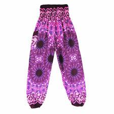 Men Women Thai HAREM Trousers Boho Festival Hippy Smock High Waist Yoga Pants Black