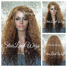 Synthetic Lace Front Wig Ombre Strawberry Blonde Bangs Layers Long Heat Safe Ok