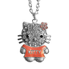 Cat Kitty Charm Rhinestone Pendant Necklace with 28inch Oval Chain