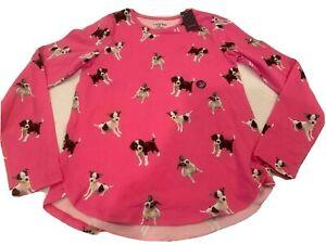 Lands End Medium 10-12 Long Sleeve Puppies Dog Shirt Top Tee  Pink Nwt