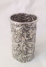 More details for antique edwardian solid sterling silver repousse spill holder, sheffield, 1902.