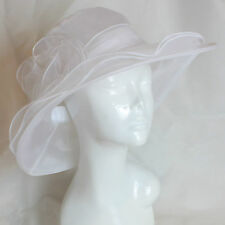 Large Hat Fascinator Weddings Ladies Day Race Royal Ascot Hatinator Brim Organza