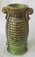 "Vintage American Bisque Pottery Vase Art Deco Double Handle Green Brown 7"""