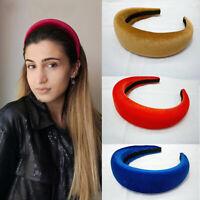 Women Solid Color Headband Wide Padded Hairband Girls Hair Hoop Hair Accessories