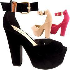 Mujer Niña Negro Plataforma Tacón en Bloque Alto Tira Tobillo Hebilla Zapatos