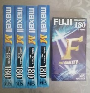 4 Pack Maxell M180 + 1 Fuji VHS Video Cassette Tapes New Sealed