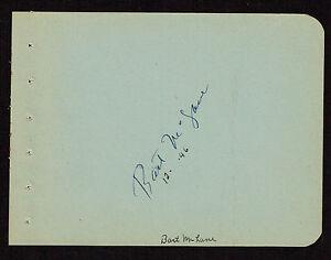 Barton MacLane (d. 1969) signed autograph 4x5 Album Page:  I Dream of Jeannie