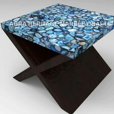 "24"" Marble Side Top Coffee Center Agate Table Handmade Inlay Hallway Decor E1265"