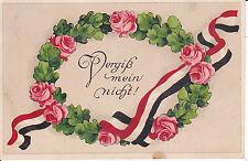 """AK Spruchkarte """"Vergiß mein nicht"""" Blumenkranz Fahnenband 1916"""