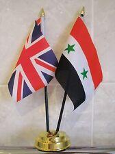SYRIA & AND UNION JACK TABLE FLAG SET 2 flags plus GOLDEN BASE UK SYRIAN
