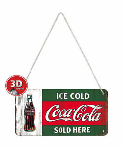 28002 Placa con cadena 10x20 coca-cola ice cold sold nostalgic art coolvintage