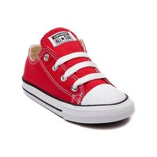 Converse All Star Low Chucks Infant Toddler Red Canvas Shoe 7J236 Free Shipping