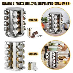 16 Jar Revolving Spice Racks Stainless Steel Free Standing Storage Jars UK STOCK