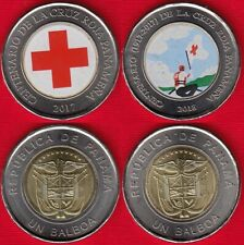 """Panama set of 2 coins: 1 balboa 2017-2018 """"Red Cross"""" Colored UNC"""