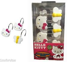 Hello Kitty Butterfly Garden Girls Bath Shower Curtain Hooks Pink White Yellow